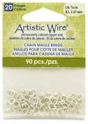 Beadalon 0.4cm 90 Piece Artistic Wire 20-Gauge Non-Tarnish Chain Maille Rings, Silver