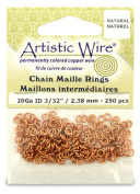 Beadalon 0.2cm 250 Piece Artistic Wire 20-Gauge Natural Chain Maille Rings