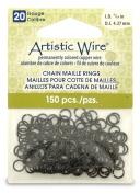 Beadalon 0.4cm 150 Piece Artistic Wire 20-Gauge Chain Maille Rings, Black
