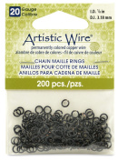 Beadalon 0.3cm 200 Pieces Artistic Wire 20-Gauge Chain Maille Rings, Black