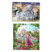 Baoblaze 2Pcs Fantasy DIY 5D Diamond Painting Cartoon Embroidery Kit For Room Decor