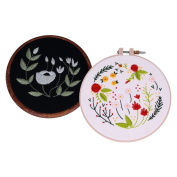 Homyl 2x Hand Embroidery Kit Cross Stitch Patterns Sampler Kit for Beginners Craft DIY