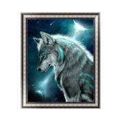 Qiman DIY 5D Diamond Painting Kit, Night Wolf Embroidery Rhinestone Cross Stitch Arts Craft Supply for Home Wall Decor