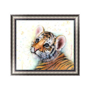 Qiman DIY 5D Diamond Painting Kit, Tiger Embroidery Rhinestone Cross Stitch Arts Craft Supply for Home Wall Decor