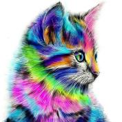 Bodhi2000® 5D Diamond Painting DIY Handmade Rainbow Cat Embroidery Painting Rhinestone Cross-Stitching Set Home Decor