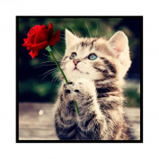 Bodhi2000® 5D Diamond Painting DIY Handmade Cat Rose Flower Diamond Embroidery Painting Rhinestone Cross-Stitching Set