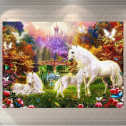 Bodhi2000® Unicorn Castle 5D Diamond Painting DIY Drill Embroidery Pictures Arts Craft for Home Wall Decor