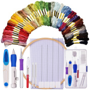 Embroidery Starter Kit Cross Stitching Sewing Kit Includes Embroidery Stitching Punch Needle Set, Bamboo Embroidery Hoop, 50 Colour Threads, Cross Stitch Cloth, Stitch Ripper and Scissor