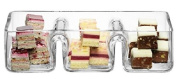 Clear Glass Three Compartments Snack and Dip Dish 30 cm | Condiments Platter, Bowl
