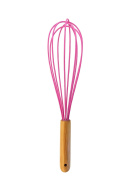 COOKIECUTTERKINGDOM Pink Wooden Kitchen Whisk. Wired Silicon Whisk Perfect for Blending, Stirring, and Beating. Beautiful Wood Handle and Smooth Feel.