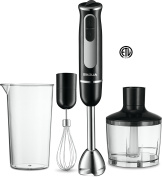 All in One Immersion Hand Blender Set - Includes Wisk, Blending Arm, Fine Chopper Accessory + 600ml Measuring Cup – Stainless Steel Blades – Comfortable Grip – Smart Speed Function - ETL Approved