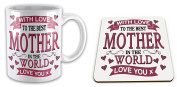 Set of 'With Love To The Best MOTHER In The World' Lovely Novelty Gift Mug with Coaster