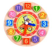 Wooden Clock, FALAIDUO Cartoon Educational Toys For Kids Wooden Beaded Clock