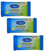 3 X Carex Cussons Refreshing Soft Cleansing Wipes For Hands Face & Body - 10 Sheets