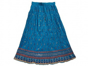 Odisha Bazar Women's Long Skirts Printed Ankle Length Large Blue