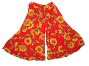 Odisha Bazar Women's Palazzo Wide Leg Long Pants Cotton Printed Trousers Free Size Red
