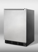 Summit Built-in Refrigerator-Freezer With Cycle Defrost, Black Cabinet, Stainless Steel Door,HH Handle