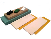 Strop Block Kit. 2 Leather Honing Strops 7.6cm by 20cm + MDF block + 3 One Oz. Black, Green & White Sharpening Polishing Compounds + Double-Sided Adhesive Tapes. All-in-one by Upon Leather