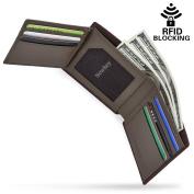 NEWHEY Mens Wallet Genuine Leather RFID Blocking Credit Card Wallet Vintage Coin Pocket Designer Brown Wallet