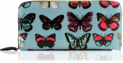 New Ladies Blue Zip Around Oilcloth Butterfly Purse Clutch Purse Hand Strap Card Holder Wallet Accessorise-me