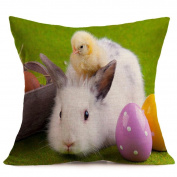 Kanzd Happy Easter Sofa Bed Home Decor Festival Throw Pillow Case Sofa Cushion Cover Bunny Character