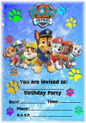 Paw Patrol Party Invites - Rainbow Formation Design - Party Supplies / Accessories (Pack of 12 A5 Invitations)
