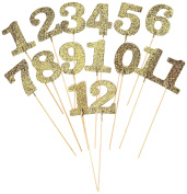 Amscan International 340154 Placecardtable Num Gltr Gld Picks