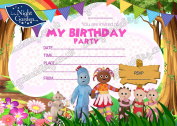 KIDS PARTY IN THE NIGHT GARDEN INVITATIONS CARDS BIRTHDAY INVITES THICK CARDS X 8 +FREE ENVELOPS