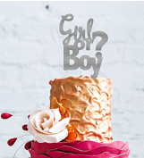 Boy or Girl Cake Topper - Glittery Silver Baby Shower Cake Topper
