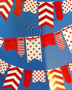 0.9m x 3m Red and White Spot and Stripe Reversible Flag Bunting *SPECIAL OFFER*