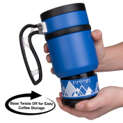Double Shot 3.0 French Press Travel Coffee Mug, 470ml - Brü-Stop Technology with Storage Base and Spill Proof Lid - Stainless Steel with Non-Slip Texture - Mountain Lake Blue