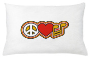 Groovy Throw Pillow Cushion Cover by Lunarable, Peace Love and Music Theme Symbols Rock and Roll Culture of the Seventies, Decorative Square Accent Pillow Case, 70cm X 41cm , Yellow Red Black