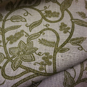 Luxury Natural Hessian Fabric with Apple Green Printed Leaf Design