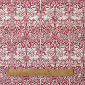 Licenced William Morris Red Brother Rabbit Pvc/Oilcloth Tablecloth Fabric by The Metre
