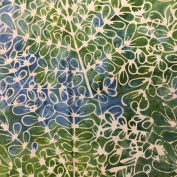 Cotton Fabric - Metre - Sew Simple Batik - Batik - Leaf Outline Green