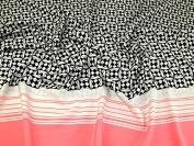 Geometric Border Print Microfibre Dress Fabric Black & Flo Pink - per metre