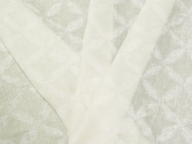 Curtain Fabric Linen Semi Transparent Flowers Leaves Natural White
