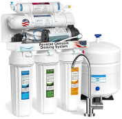 Express Water RO10MPU 5 Stage Reverse Osmosis Drinking Water Undersink Filtration System Plus RO Booster Pump For Increased Pressure - 100 GPD Membrane Capacity, White Housings