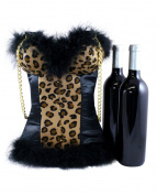 Cheetah Animal Print Wine Purse | Bustier Fancy Wine Tote with Black Satin and Faux Fur | Double Wine Tote for Women by Tipsy Totes - The Girly Girl Animal Print Wine Tote
