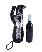 Sequin Stiletto Wine Bag by Tipsy Totes | Reversible Black to Silver Sequin Wine Tote Perfect for Women Who Love Shoes and Wine | Unique Gifts for Wine Lovers | Wine Totes by Tipsy Totes