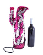 Sequin Stiletto Wine Bag by Tipsy Totes | Reversible Hot Pink to Silver Sequin Wine Tote Perfect for Women Who Love Shoes and Wine | Unique Gifts for Wine Lovers | Wine Totes by Tipsy Totes