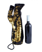 Sequin Stiletto Wine Bag by Tipsy Totes | Reversible Black to Gold Sequin Wine Tote Perfect for Women Who Love Shoes and Wine | Unique Gifts for Wine Lovers | Wine Totes by Tipsy Totes