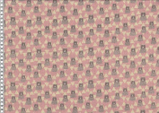 Cotton Fabric Kokka Patchwork Triangle Bear Pink Beige 1.10 m, Width