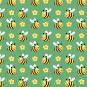 Fat Quarter Spring Fling Bees 100% Cotton Quilting Fabric Blank Quilting - Green