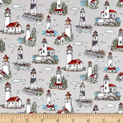 Fat Quarter Lighthouse Wonder Mini Lighthouses 100% Cotton Quilting Fabric