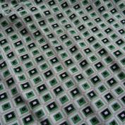 Roman Tile Print 100% Cotton Jersey Fabric Material Craft Textile - GREEN