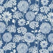 Floral Cotton Poplin Textile Fabric Flowers Print (0472)- Blue