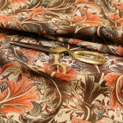 All Over Paisley Floral Orange Brown Colour Chenille Upholstery Curtain Fabrics