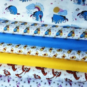 WINNIE THE POOH FABRIC BUNDLE - VISFB03B - 7 Fat Quarters each 55 cm x 50 cm - Nursery Kids Fabric Bundle - 100% Cotton
