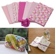 Malloom 7 Pcs Cotton Patchwork Quilt Series Fabric Floral Charms Quarters Bundle Sewing, 50 x 40cm